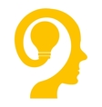 colorful human head with light bulb icon vector image