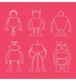 Cute line robot set on pink vector image