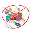 No Eat Sweet Drinks and Sweet Snack vector image