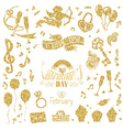 set of gold signs for Valentines Day design vector image