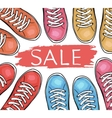 Summer trendy sports shoes Sale of sneakersTo vector image