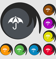 Umbrella icon sign Symbols on eight colored vector image