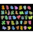 3D graffiti color fonts alphabet and number over b vector image