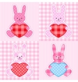 Pink rabbits cards vector image