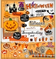 Halloween scrapbook elements vector image
