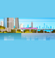modern urban panorama subway train over river or vector image