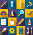 Set of Flat Style Building Icons with Long Shadow vector image