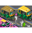 Isometric Indian Rickshaw in Front View vector image