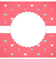 Red template card with blue and white hearts vector image