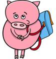 piglet with satchel cartoon vector image