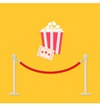 Red rope ticket popcorn Flat vector image