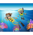 Two people scuba diving under the ocean vector image