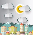 City Mountains with Paper Cut Clouds and Sun vector image