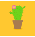 Cute cartoon cactus flower in the pot Flat design vector image