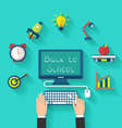 Flat Icons and Objects for High School vector image