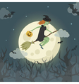 Pretty young witch on a broomstick flying over the vector image
