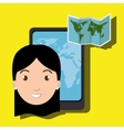 woman smartphone travel icon vector image
