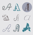 Original letters A set isolated on light gray vector image