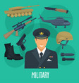 military man occupation machines and weapon vector image