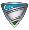 steel shield with flag uzbekistan vector image vector image