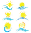 watercolor summer icons 1101 vector image vector image