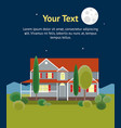 cartoon house building night time banner card vector image