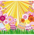 Floral background with Easter eggs vector image