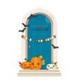 halloween door decorations blue front door with vector image