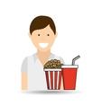 happy woman cartoon cinema fast food vector image