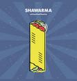 shawarma sandwich grill meat restaurant menu vector image