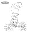 Cool cartoon cyclist on bike with glass2 vector image