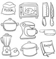 kitchen set hand draw cartoon doodles vector image