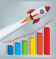 business chart with a rocket going up vector image vector image