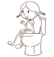 A plain sketch of a girl at the comfort room vector image
