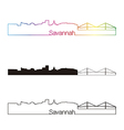 Savannah skyline linear style with rainbow vector image