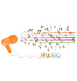 i love music doodle art with note vector image