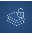 Stack of papers with lock line icon vector image vector image