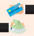 cash money euro banknotes and credit card vector image
