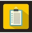Clipboard checklist icon flat style vector image