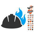 fire helmet icon with love bonus vector image