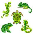Set of reptiles green vector image