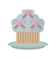 sweet cupcake with bow heart wedding vector image