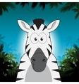 Cute cartoon zebra in front of jungle background vector image