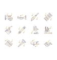 Wind instruments tunes color line icons set vector image