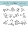 Seafood thin line icons set vector image