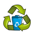 can trash inside of recycling symbol vector image