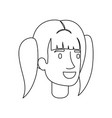 monochrome silhouette of woman face with pigtails vector image