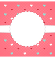 Red template card with blue red and white hearts vector image