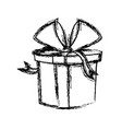 christmas gift box wrapped ribbon bow vector image