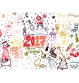 Christmas hand drawn cute doodles stickers vector image